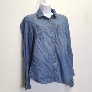 love stitch chambray long sleeve pearl snap